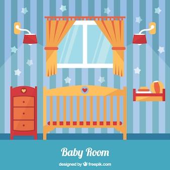 Oranje en blauwe babykamer in plat design
