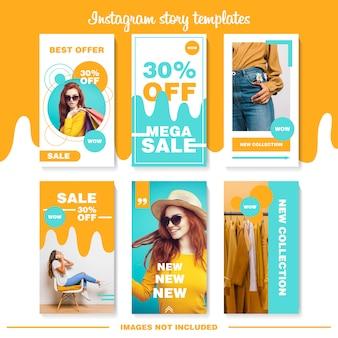 Oranje en blauwe instagram-verhalensjablonen