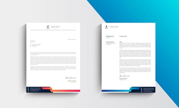 Oranje en blauwe moderne zakelijke briefhoofd ontwerpsjabloon
