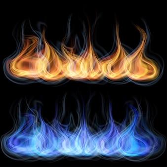 Oranje en blauwe tongen van vlammen