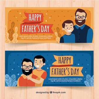 Oranje en blauwe vaders dag banners