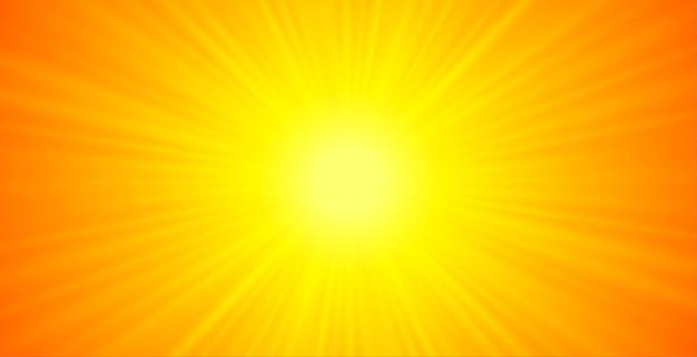 Oranje en gele gloeiende stralenachtergrond