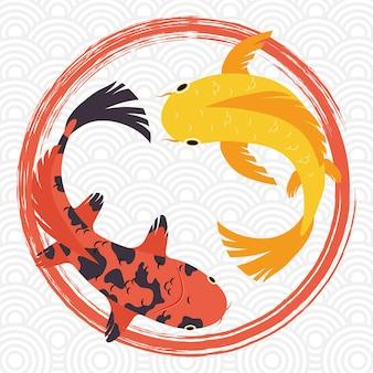 Oranje en gele koi vissen in cirkels