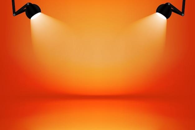 Oranje en gele studioruimte met lichte doosachtergrond