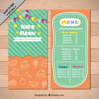 Oranje en groen kid's menu met kleurrijke slingers
