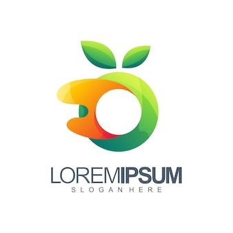 Oranje en groen logo