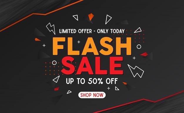 Oranje en rode flash verkoopbanner malplaatje achtergrond