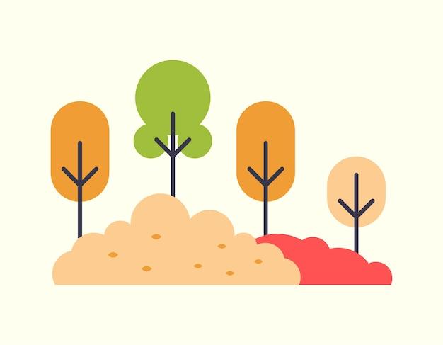Oranje en rode kleurenbomen en veelkleurige struiken