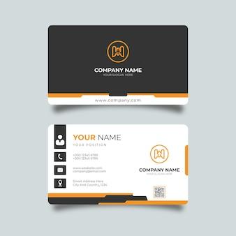 Oranje en zwart creatief ontwerpsjabloon voor moderne visitekaartjes