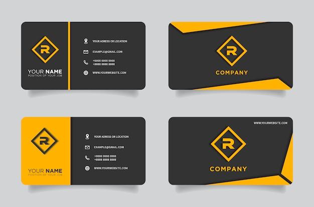 Oranje en zwart donker modern creatief visitekaartje en naamkaartje