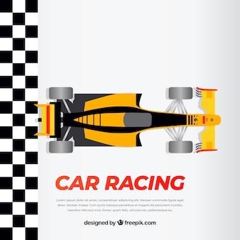 Oranje en zwarte f1 raceauto kruist afwerkingslijn