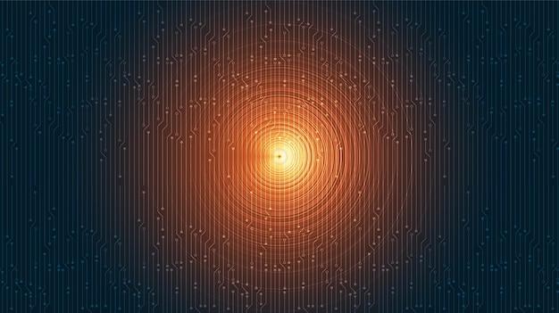 Oranje equalizer op digitale geluidsgolfachtergrond.