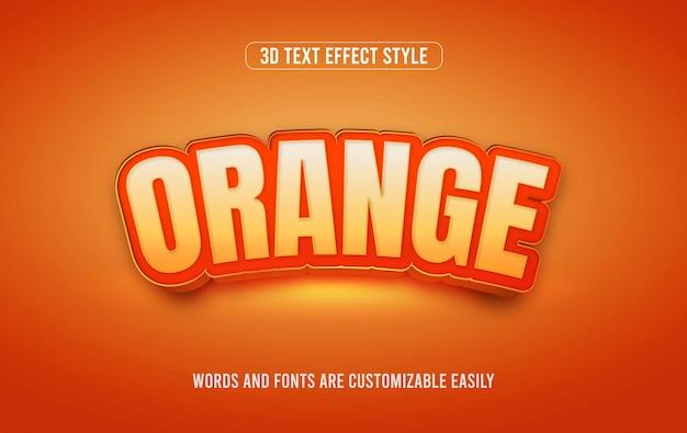 Oranje fruit 3d bewerkbare vector teksteffectstijl