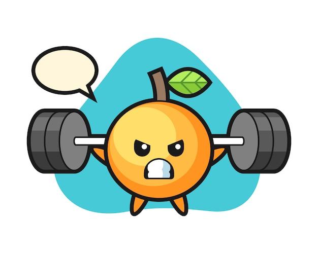 Oranje fruit cartoon met een barbell