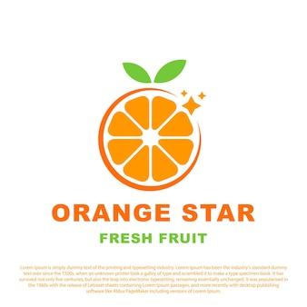 Oranje fruit logo sinaasappelschijfjes met ster minimaal ontwerp vectorillustratie