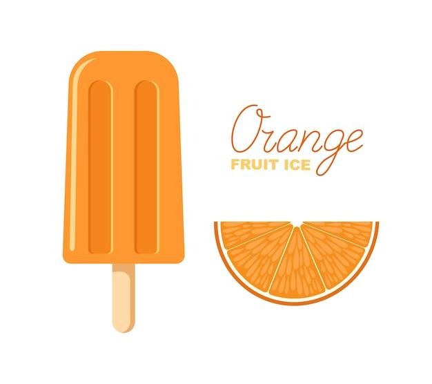 Oranje fruitijs. ijslolly op een stokje. belettering en afbeelding.