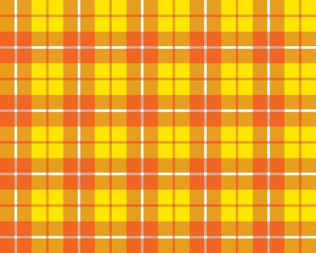 Oranje geel naadloos de textuurpatroon van de geruit schots wollen stofstof