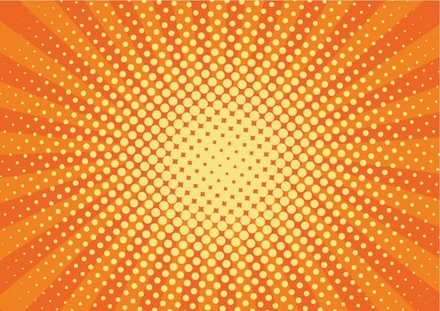 Oranje, gele stralen en stippen pop-art achtergrond.