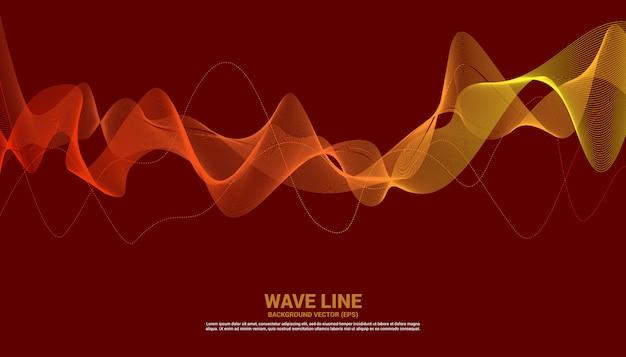 Oranje geluidsgolf lijn curve op rode achtergrond.