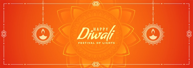 Oranje gelukkige diya-banner van het diwalifestival