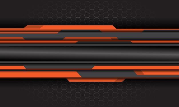 Oranje grijs cyber circuit op donkergrijze zeshoek mesh futuristische achtergrond.