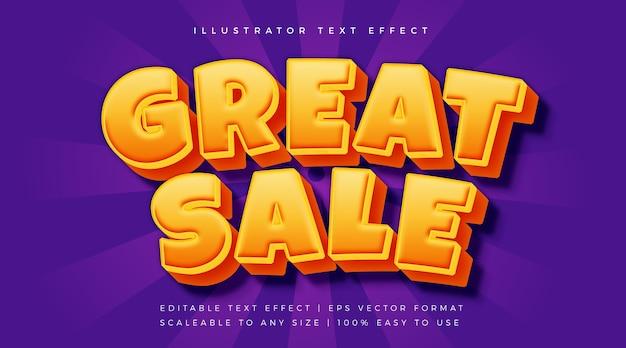 Oranje grote verkoop tekststijl lettertype-effect
