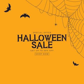Oranje halloween-verkoopposter met vleermuis en spin. vectorillustratie eps10