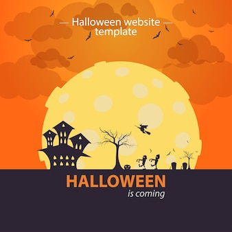 Oranje halloween website sjabloon. halloween komt er aan