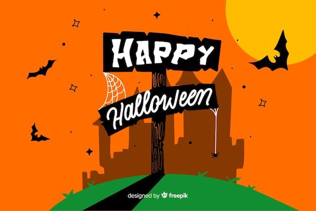 Oranje happy halloween belettering