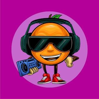 Oranje hiphop dj illustratie met koptelefoon en bril