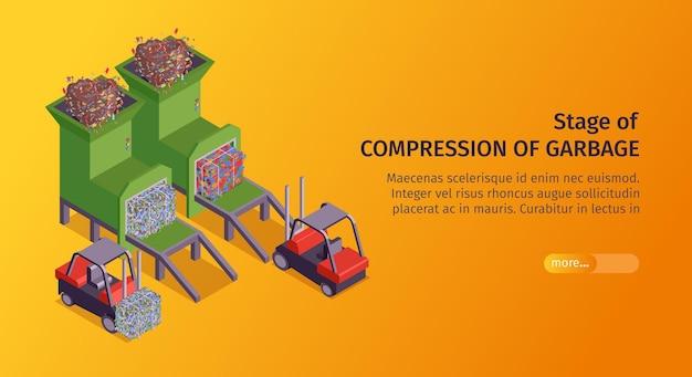 Oranje isometrische vuilnis horizontale banner met stadium van compressie van vuilniskop