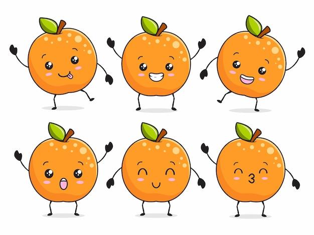 Oranje kawaii citrus cartoon illustratie