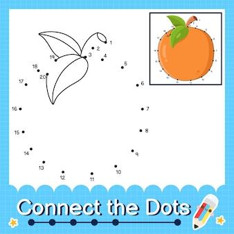 Oranje kinderpuzzel verbind de stippen werkblad voor kinderen die de nummers 1 tot en met 20 tellen