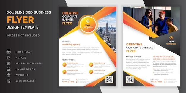 Oranje kleur abstracte creatieve moderne professionele dubbelzijdige zakelijke flyer