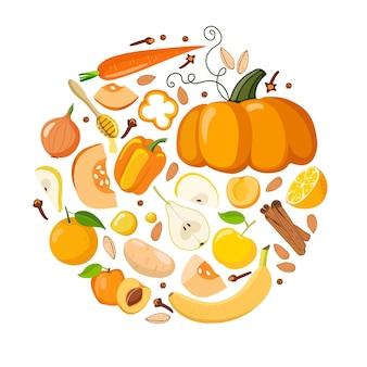 Oranje kleur voedsel oranje groenten fruit kruiden zaden in ronde