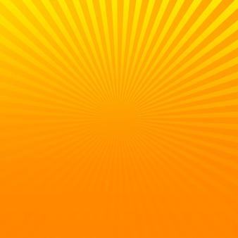 Oranje komische pop-art halftone achtergrond met gele zonnestralen.