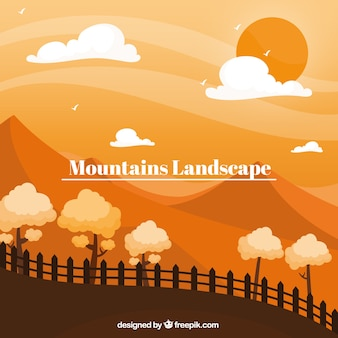 Oranje landschap met bergen, zonsondergang