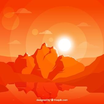 Oranje landschap, zonsondergang