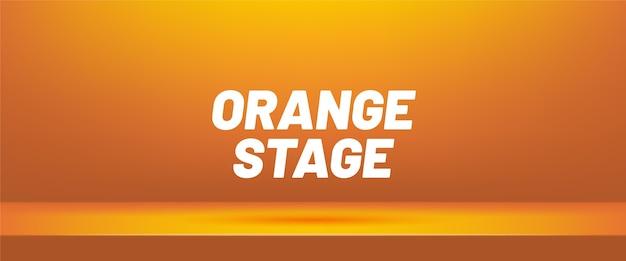 Oranje lege studioruimte voor productvertoning.