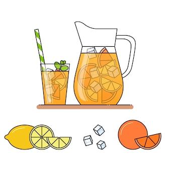 Oranje limonade met fruitplakken
