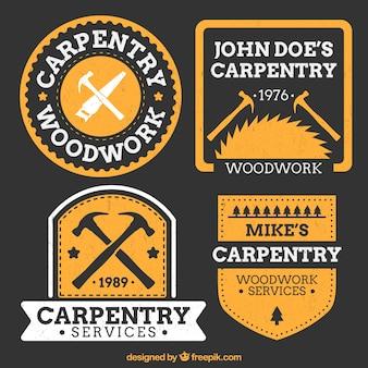Oranje logo's voor timmerwerk