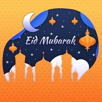 Oranje moskee papierstijl eid mubarak