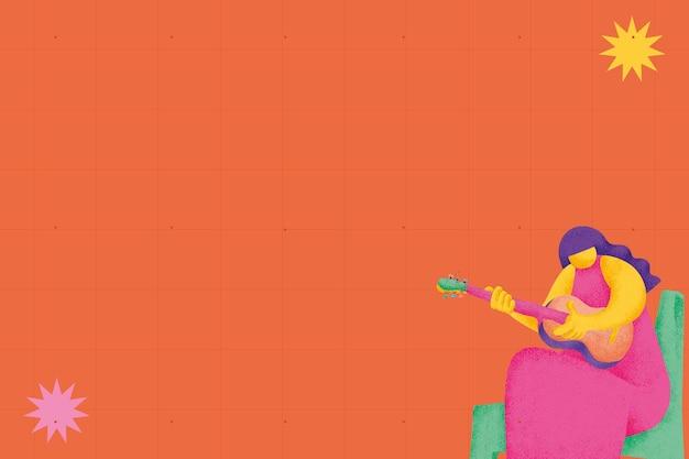 Oranje muzikale achtergrond met gitarist muzikant platte afbeelding