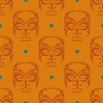 Oranje naadloos patroon met maskers van de polynesische stammen.