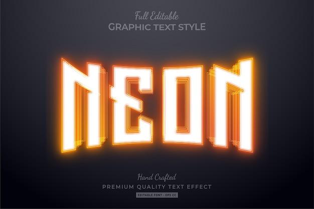 Oranje neon bewerkbaar teksteffect
