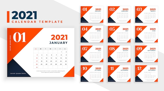 Oranje nieuwjaar kalendersjabloon