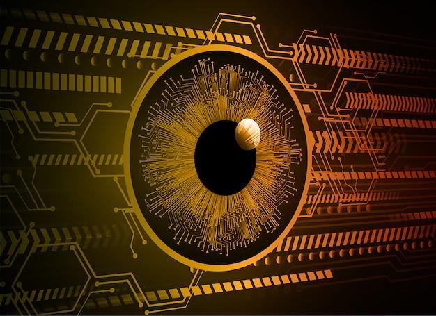 Oranje oog cyber circuit technologie toekomst achtergrond