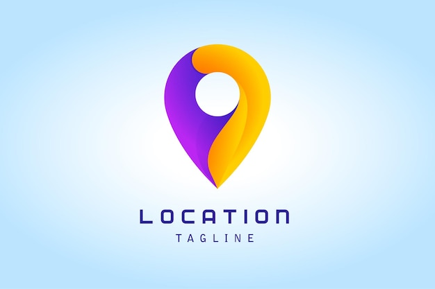 Oranje paarse pin locatieverloop logo