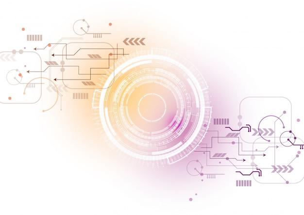 Oranje paarse technologie circuit achtergrond
