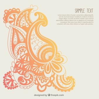 Oranje paisley ornamenten sjabloon